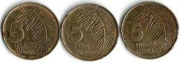 3  Pièces  De Monnaie  5 Francs - Guinée