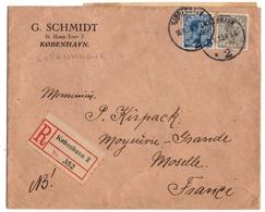 DANMARK. COBENHAVN. LETTRE. RECOMMANDE Pour MOYEUVRE-GRANDE (57) 1923. - 1913-47 (Christian X)