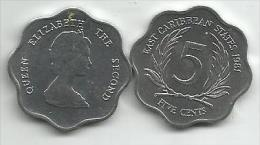 East Caribbean States 5 Cents 1981. UNC - East Caribbean States
