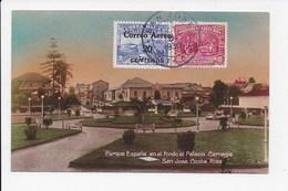 CPA COSTA RICA Parque Espana En El Fondo El Palacio Carnegie SAN JOSE - Costa Rica