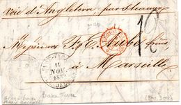 Guadeloupe Pour Marseille-cachet Grand-Bourg(faible) Plus Basse Terre -colonies Fran.angl.1853.taxe 12 - Postmark Collection (Covers)