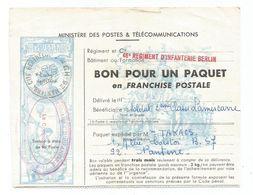 BON POUR PAQUET FRANCHISE GRIFFE 46E REGIMENT D'INFANTERIE BERLIN 92 NANTERRE 1970 - Marcophilie (Lettres)