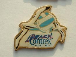PIN'S  VOLLEYBALL - BEACH CONTREX - BALLON BLEU - Volleyball