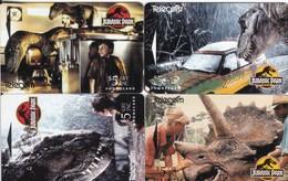 New Zealand, NZ-A-021 - 24, Jurassic Park, Complete Set Of 4, Dinosaurs. - New Zealand