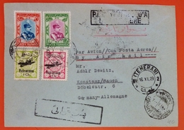 Iran 1929 Registered Air Mailed Cover Sent From Teheran To Germany - Multi Stamped - Iran