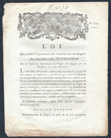 Loi Du 5 Septembre 1792 Qui Prohibe L'exportation D'or Et D'argent Conseil Du Département Des Vosges - Decreti & Leggi