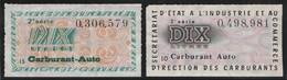 Carburant Auto - Dix Litres - 2e Et 3e Série - Très Beaux (Lot Fiscal 55) - Revenue Stamps