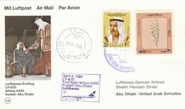 Kuwait Koweit Abu Dhabi EAU UAE 1986 - Lufthansa Airbus - Primo Volo Erstflug 1er Vol Inaugural Flight - Abu Dhabi