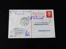 ENTIER POSTAL   1 ST FLIGHT  POUR  HAMBOURG - Airmail
