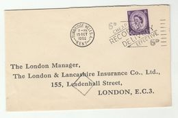 1962 Tunbridge Wells GB COVER SLOGAN Pmk '6d CHEAP EFFECTIVE RECORDED DELIVERY' Stamps - 1952-.... (Elizabeth II)
