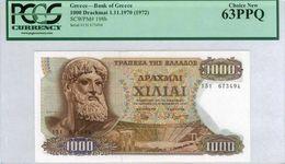 """GREECE 1000 DRACHMAI 1970 UN63 PPQ PCGS P-198b """"free Shipping Via Registered Air Mail"""" - Grèce"""