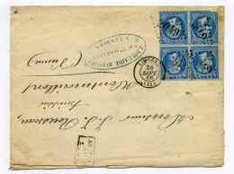 """YT N°22 BLOC DE 4 Sur Lettre De LIMOGES  / Dept 81 Haute Vienne / Sept 1866 / Mention """"après Le Départ"""" - Marcophilie (Lettres)"""