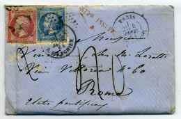 Napoléon YT N°24+22  / Etoile De Paris N°4 + Cad Rue D'Enghien Pour ROME ETATS PONTIFICAUX / Affr Insuffisant / 1864 - Marcophilie (Lettres)