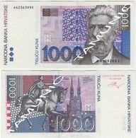 CROATIA 1000 Kuna 1993 ANTE STARCEVIC,ZAGREB - UNC - Croatie