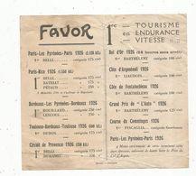 Publicité , Sports , MOTO FAVOR ,palmares ,1925-1926, Tourisme , Endurance , Vitesse - Advertising