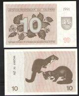 ЛИТВА 10 ТАЛОНОВ   1991   UNC! - Lithuania