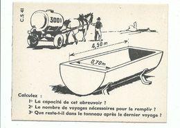 Fiche Cartonnée Studia - Cours Supérieur CS 41 Problème De Mathématiques Abreuvoir Attelage Cheval - Fiches Illustrées