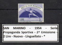 San Marino - 1954 - Propaganda Sportiva - 2^ Emissione - 2 Lire - Nuovo - Linguellato - * - (FDC8992) - Scherma