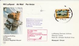 Bagdad Baghdad Muscat Mascate Irak Oman 1985 - Lufthansa Airbus - Erstflug 1er Vol Inaugural Flight Primo Volo - Iraq