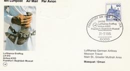 Bagdad Baghdad Muscat Mascate Irak Oman 1985 - Lufthansa Airbus - Erstflug 1er Vol Inaugural Flight Primo Volo - Oman