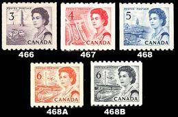 Canada (Scott No. 466-68b - Reine Elizabeth / Queen Elizabeth) [**] Roulette / Coil  Set TB / VF - Unused Stamps