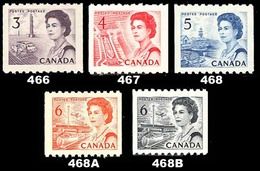 Canada (Scott No. 466-68b - Reine Elizabeth / Queen Elizabeth) [**] Roulette / Coil  Set - Unused Stamps