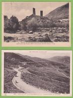 2 CPA Route De Bourg Madame à Ax Les Thermes Tours Carol + Col De Puymorens Embranchement Andorre - France