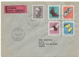 1950  Pro Juventute Série Complète Papillons + Abeille FDC En Français, Lettre Premier Jour D'émission Exprès, Ersttag - Pro Juventute