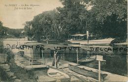 POISSY (78, Yvelines) : Le Bras Migneaux, Joli Bord De Seine (circulée, 1924), 2 Scans, Bateau, Destination Drancy - Poissy