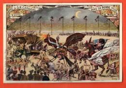 GBS-28 Litho Arrivée De Sa Majesté Carnaal Dans Sa Bonne Ville De Nice. Circculé Sous Enveloppe En 1909 - Carnaval