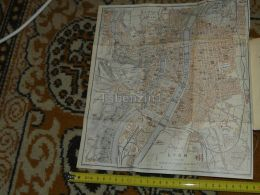 Lyon France Map Karte Mappa 1930 - Carte Geographique