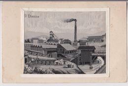 SAINT ETIENNE : MINE DE CHARBON - CARTE REALISEE EN RUBAN TISSE (VOIR VERSO) - RARE - ECRITE EN 1917 - 2 SCANS - - Saint Etienne