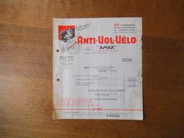 "LYON ANDRE RAY CONSTRUCTEUR ANTI-VOL-VELO ""AMAX"" 39 RUE THOMASSIN FACTURE DU 18 MAI 1942 - France"