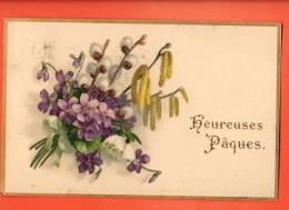 GBT-09  Heureuses Pâques, Bouquet De Fleurs, Violettes, Chatons, Noisetier..  Circulé En 1920 - Pâques