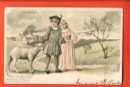 GBT-11  Herzlichen Ostergruss, Heureuses Pâques, Agneau Cuple Enfants, Relief, Geprägt.  Circulé En 1905 - Pâques