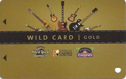 Seminole Hard Rock Casinos USA - BLANK Gold Slot Card - 3 Logos Centered - Casino Cards