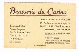 """LE  TREPORT  76  Carte De Visite """" Brasserie Du Casino """" - Le Treport"""