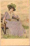 CPA Type Vienne Viennoise Art Nouveau Femme Girl Woman Non Circulé - Illustrators & Photographers