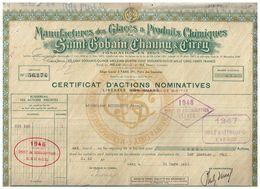 Certificat Ancien - Manufactures Des Glaces & Produits Chimiques De Saint-Gobain, Chauny & Cirry - Titre De 1943 - Mines