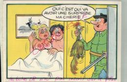 CP FANTAISIES  SERIE CHASSE - Avoir  Une Surprise Ma Chérie ...!   ILLUSTRATEUR NUE  NU Humouristique  AV 2018  039 - Humor