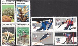 USA   1980   15c Winter Olympics & Coral Reefs Blocks  MNH**  Face $1.20 - United States