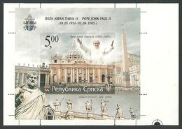 YUGOSLAVIA SERBIA BOSNIA Death Of Pope John Paul II Giovanni Paolo II, IMPERFORATED BLOCK Ungezähnt - Popes