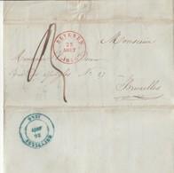 LAC Type 15 BEVEREN 25 Aout 1846 Vers Dc Bleu Bruxelles - 1830-1849 (Belgique Indépendante)