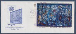 = Mémorial De Verre à Dag Hammarskjold New-York 17.11.67 N°BF4 Bloc 6 Timbres, Vitrail De Marc Chagall - FDC