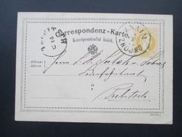 Österreich 1874 Ganzsache Stempel Znaim Znojno Nach Trebitsch Mit AK Stempel Karte Böhm. - 1850-1918 Imperium