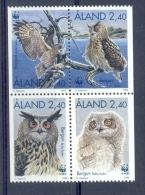 Nea195s WWF FAUNA ROOFVOGELS UIL BIRDS OF PREY OWL GREIFVÖGEL EULE AVES HIBOUX OISEAUX ALAND 1996 PF/MNH - W.W.F.