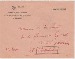 Algérie Lettre En Franchise Centre CCP Alger Avec Erreur Du N° De SP Et Cachet Fort Flatters Oasis Au Verso - Postmark Collection (Covers)