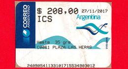 ARGENTINA - Usato - 2017 - ATM - Correo Argentino - Plaza Las Heras - 208.00 - Affrancature Meccaniche/Frama