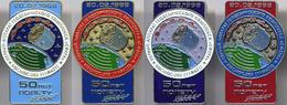 436 Space Soviet Russian Pins Set (4 Pins). Geodetic Complex SPHERE - Satellite. 50 Years Of Flight. Plesetsk Cosmodrome - Space