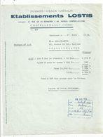 Facture 1954 , Plumes,peaux ,métaux , Ets Lostis , 86 ,Vienne , Chatellerault, Frais Fr 1.55 E - France